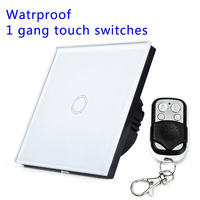 Remote Control Touch Switches 1 Gang 1 Way Waterproof Crystal Glass Panel White Black Gold