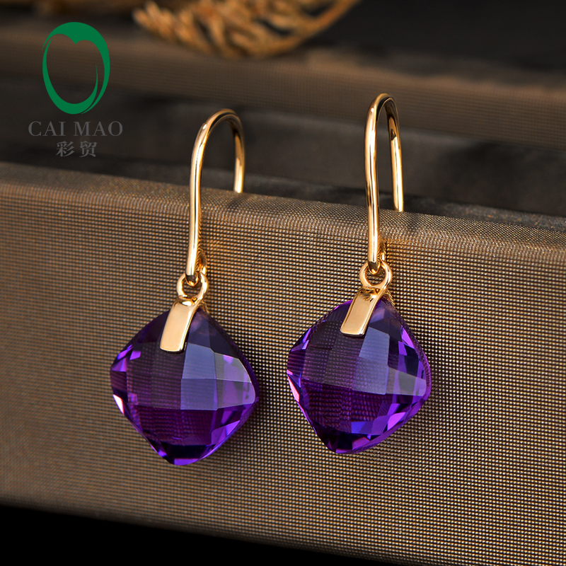 CaiMao 8 81ct Natural Cushion Cut Citrine Or Amethyst 14K Yellow Gold Drop Earrings For Women