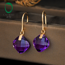 CaiMao 8.81ct Natural Cushion Cut Citrine Or Amethyst 14K Yellow Gold Drop Earrings For Women caimao 0 35ct green emerald retro vintage pendant 14k yellow gold chain exquisite