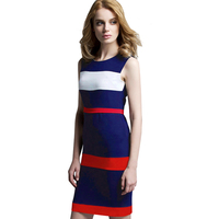 2016 Women Vestido Vintage Patchwork Dress Sleeveless Knee Length Stripe Bodycon Pencil Summer Brief Dresses B276