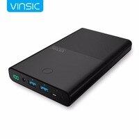 Vinsic воин P5 30000 мАч 4.5A/19 В Тетрадь Мощность Bank Dual Порты внешний Батарея зарядное устройство для ноутбуков, Планшеты и iPhone samsung