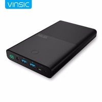 Vinsic 30000mAh 4 5A 19V Notebook Power Bank Dual Ports External Battery Charger For Laptops Tablets