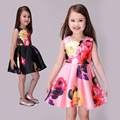 2016 Girls Sleeveless Dresses,A-line Princess Party Cotton Flowers Dresses,Children Sleeveless Wedding Flowers Girls Vestido