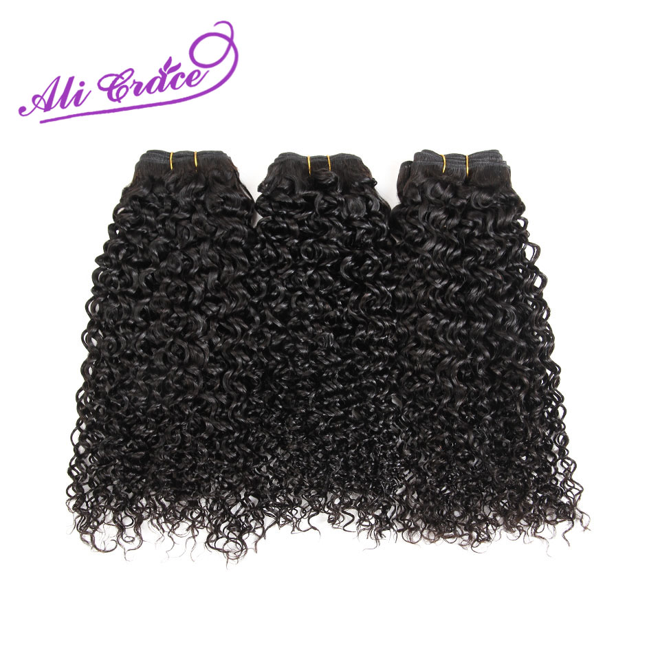 Ali Grace Hair Peruvian Kinky Curly 3 Bundle Deals 100 Remy Human Hair Weave Extension Natural