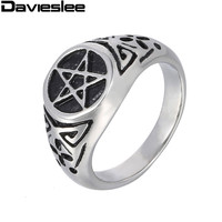 Punk 10mm Inverted Pentagram Star Circle Mens Black Silver 316L Stainless Steel Ring Wholesale Jewelry US