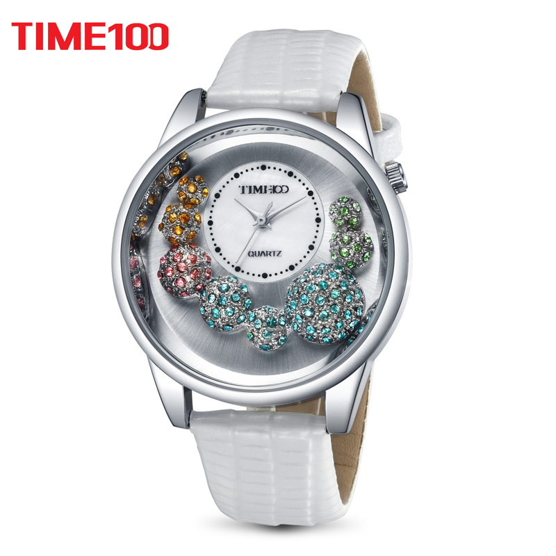 TIME100 Women Quartz Watches Big Face Shell Dial Cystal White Leather Strap Unique Waterproof Ladies Watch orologio da polso pure white dial face ziz time watches navy