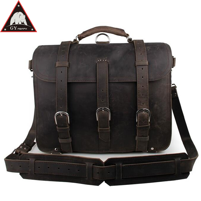 купить ANAPH Crazy Horse Business Bag For Men, Full Grain Leather Thick Office Executive Durable Briefcases Fit 16