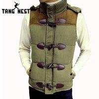 TANGNEST Vest Men 2016 Fashion Single Breasted Hat Detachable Men Vest Hot Sale Casual Slim Chaleco