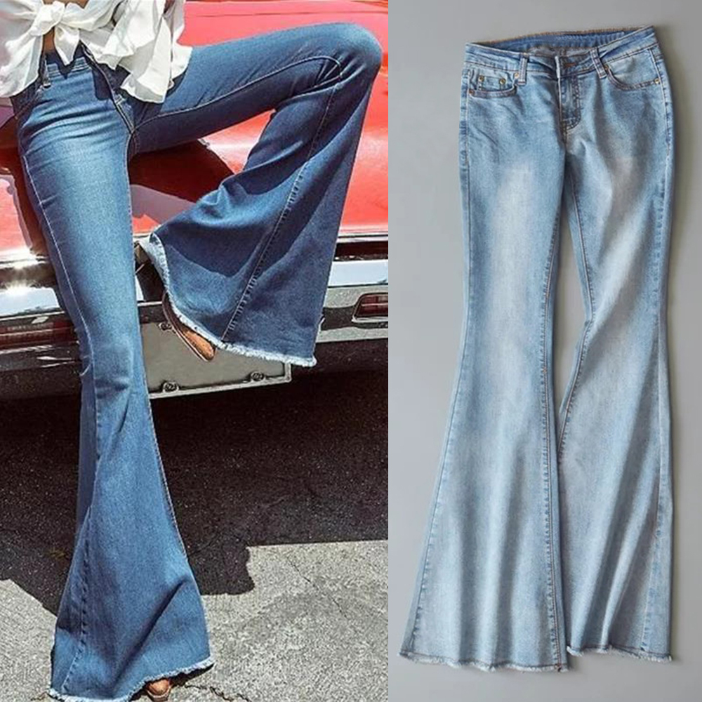 LASPERAL 2019 New Spring Women Blue Mid Waist Flare Bell Bottoms Ladies Sexy Stretching   Jeans   Fashion Wide Leg Denim Trousers