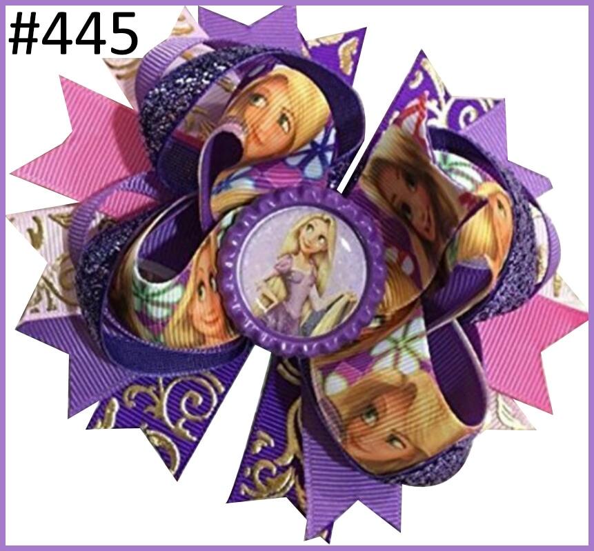 Girls BOUTIQUE hair bow NEW lavender purple pink chevron polka dot layers clip