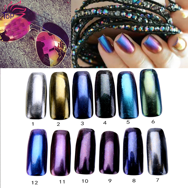 1g 12 Solid Color Nail Mirror Glitter Powder Shinning Dust Nail Art
