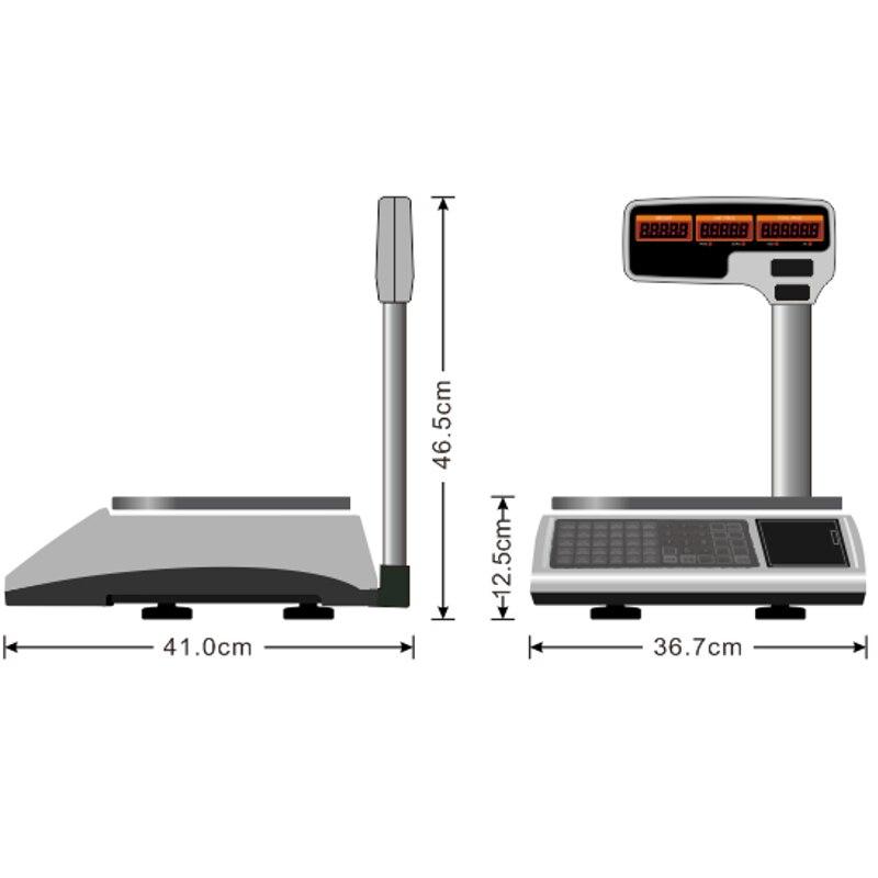 Высокая емкость Электронные цифровые весы с поддержкой чекового принтера Многоязычная печать - 3
