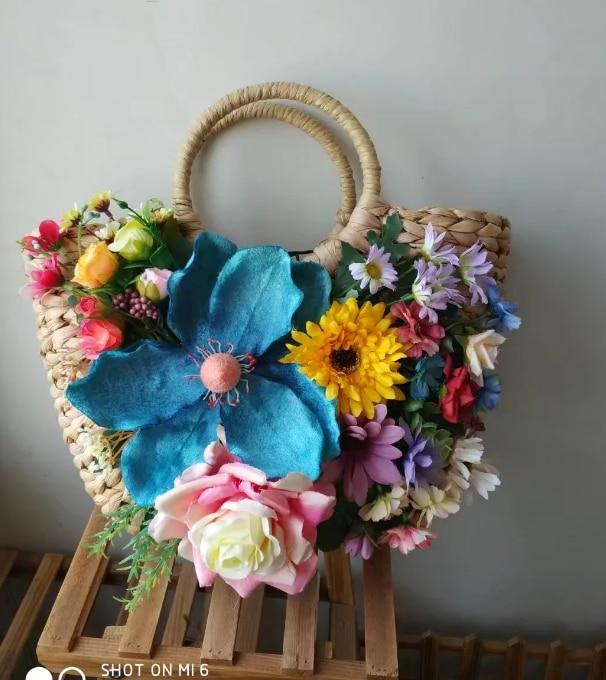 Фотография Manual high order handbags Straw Beach Bag holiday flowers handmade aesthetic shipping new summer CUSTOMIZED FLOWERS