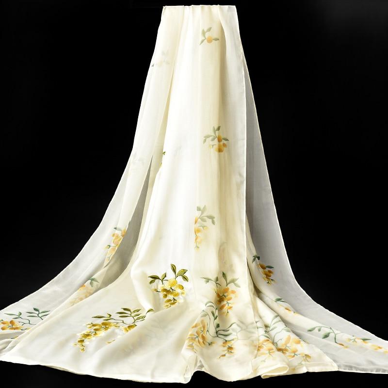 Hangzhou naturel Double soie foulard femmes marque de luxe 100% vraie soie main-broderie foulards dames Pure soie châles enveloppes