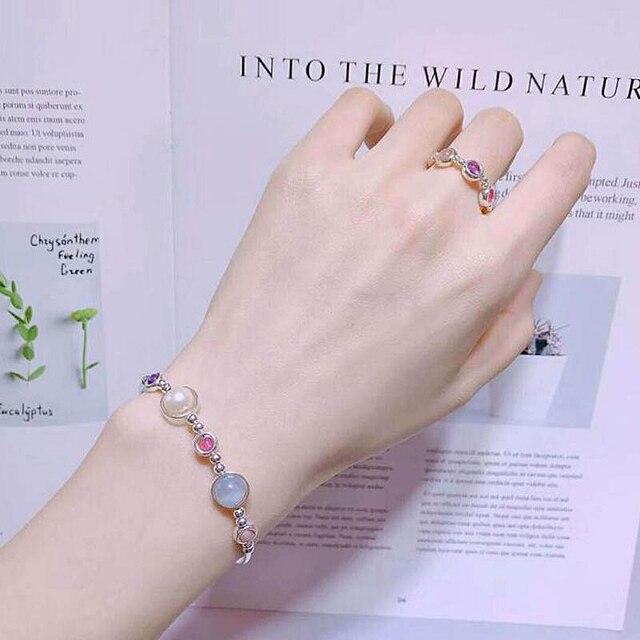 Ruifan 2018 New Style Aquamarine Pearl Crystal Bracelet Ring Sets Silver 925 Jewelry Set Girls Women Ensemble Bijoux Gift YJS001