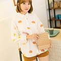 Fashion Harujuku Cute Girl sushi printed batwing sleeve Japan Words Turn Down Collar White Shirt Shirts