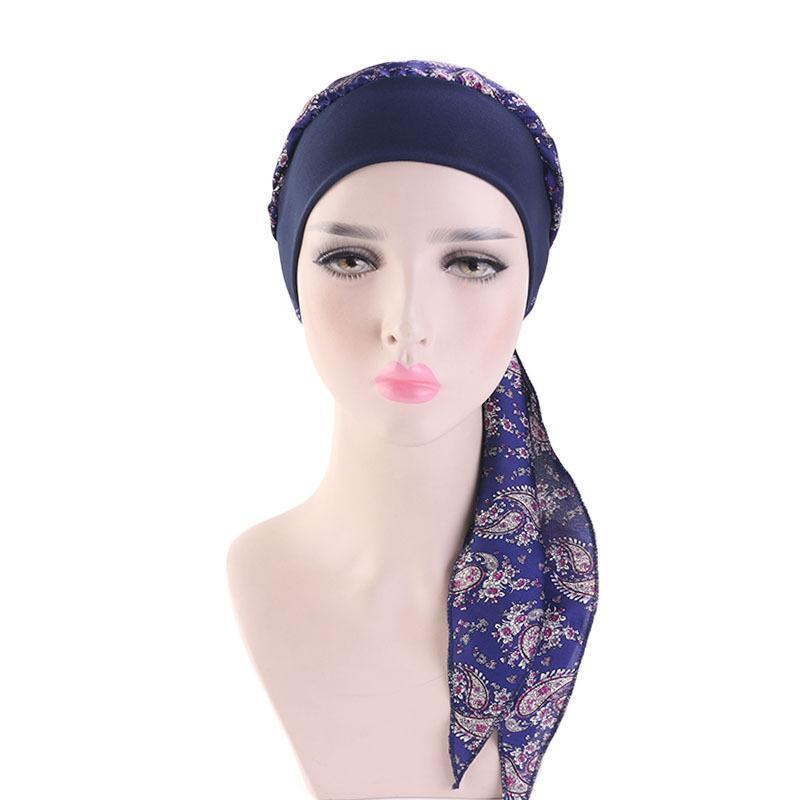 Image 2 - Womens Muslim Hijab Cancer Chemo Cap Flower Print Hat Turban  Cover Hair Loss Head Scarf Wrap Pre Tied Headwear Strech  BandanasIslamic Clothing