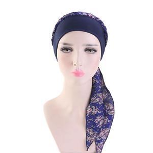 Image 2 - Womens müslüman başörtüsü kanser kemo çiçek baskı şapka türban kapatma başlığı saç dökülmesi başörtüsü Wrap önceden bağlı şapkalar streç Bandana
