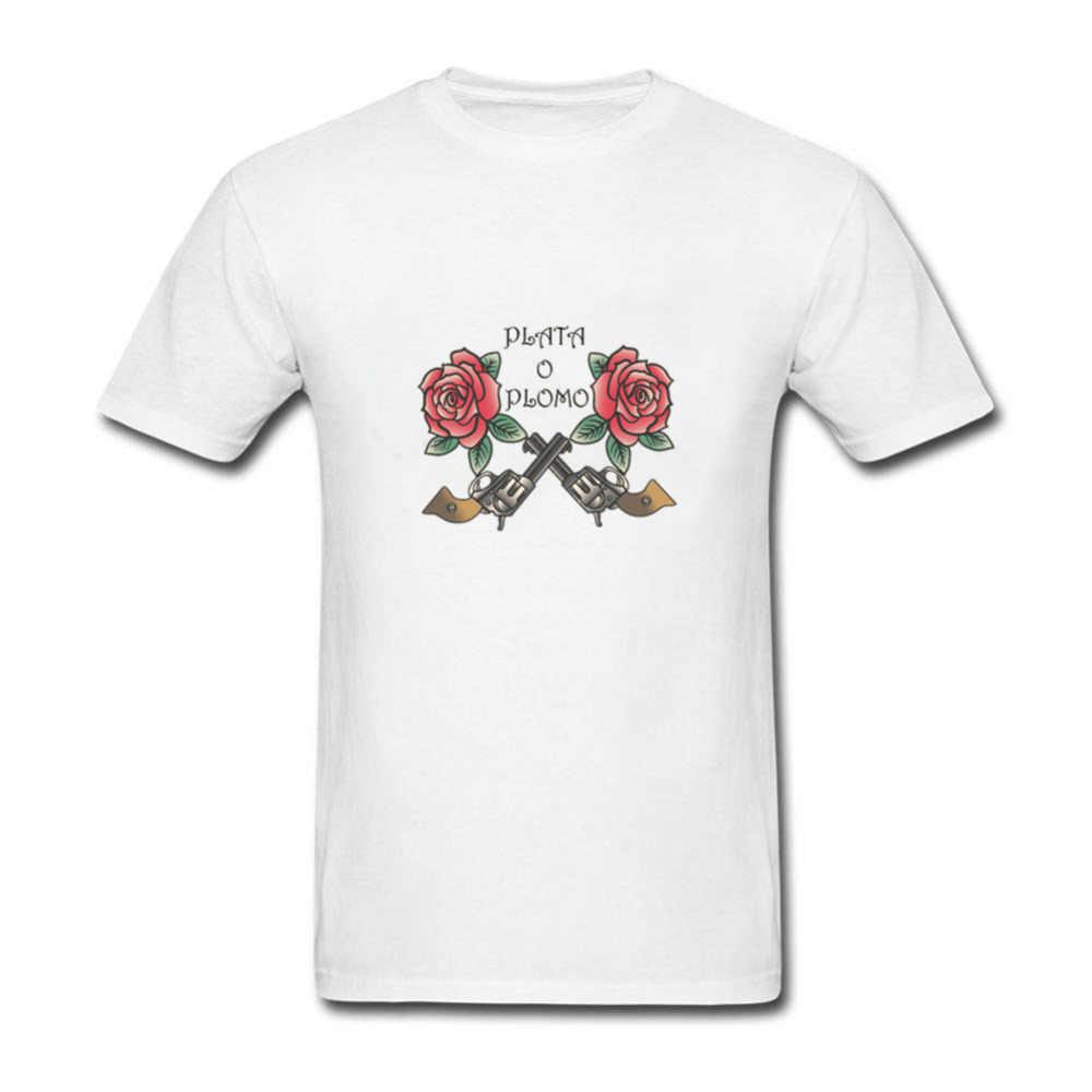 2018, новые летние Дизайн Костюмы плата о Пломо футболки с принтом Для мужчин нарков Пабло Эскобара серебро или хлопок хип-хоп с круглым вырезом футболки