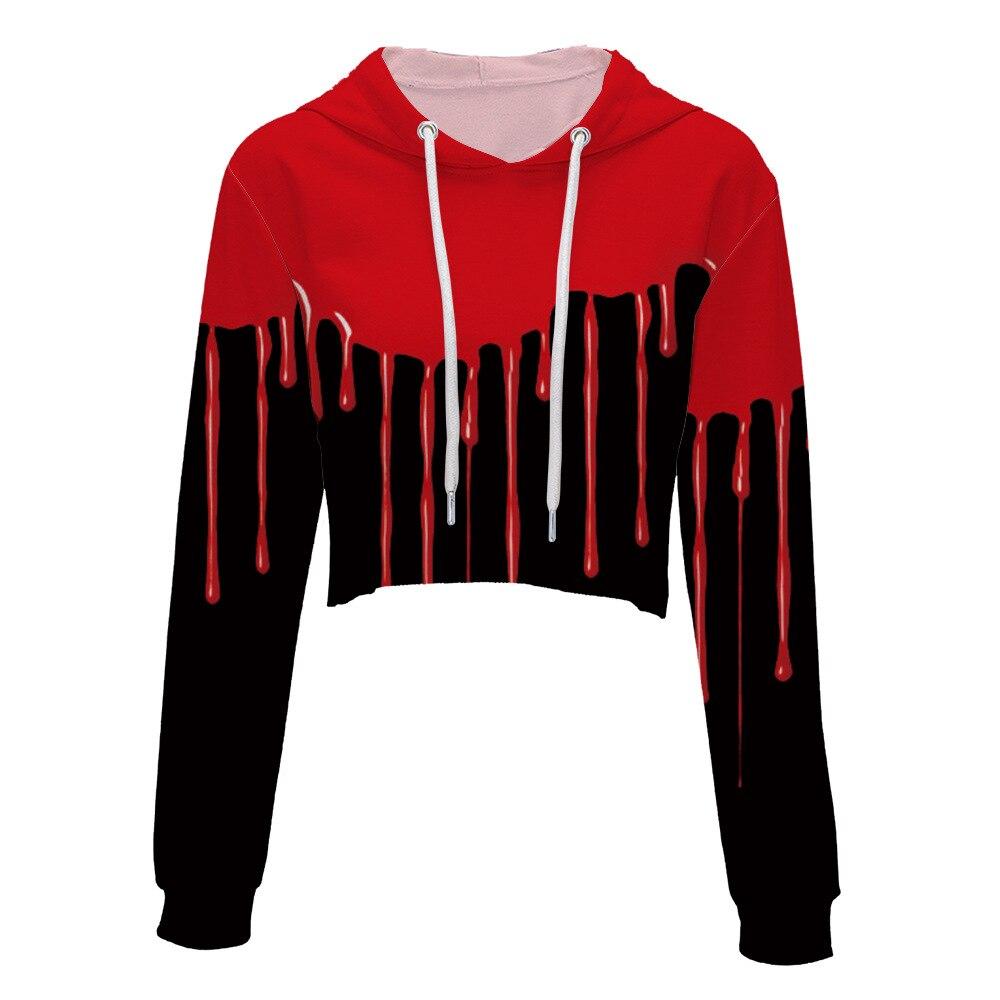 New Spring & Autumn Women/Men 3D Sweatshirt Printed Red ink flowing Hoodies Casual Pullover Crewneck Tops