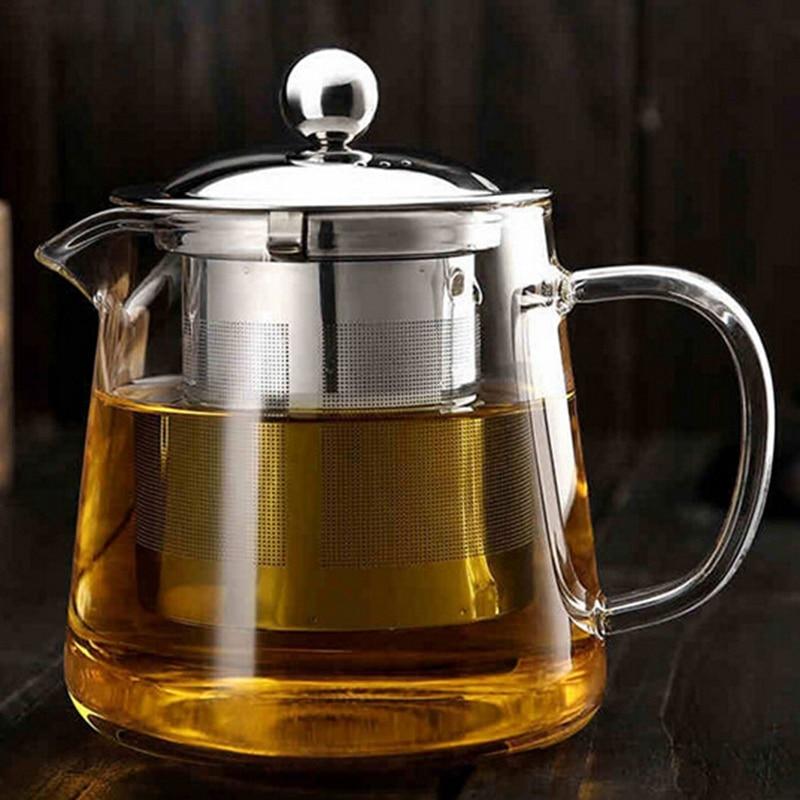 600ml Teapot Glass Tea Pot Coffee Kettle Coffee Dripper Coffee Pot Teapot Convenient Home Office Teaset
