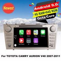 Поддержка Apple Carplay Android9.0 автомобильный DVD GPS Navi мультимедиа плеер для Toyota Camry Aurion V40 2007 2011 Авто Радио стерео