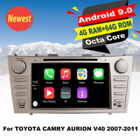 Support Apple Carplay Android9.0 Car DVD GPS Navi Multimedia Player For TOYOTA CAMRY AURION V40 2007 2011 Auto radio Stereo