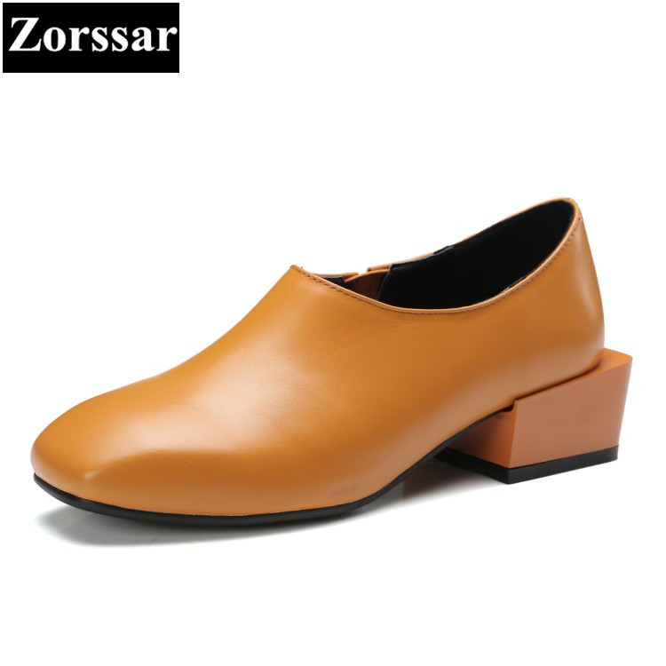 2017 NEW soft leather women shoes low heel fashion women pumps high heels shoes woman Fashion Square toe Thick heels shoes цена 2017