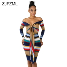 ZJFZML Striped Knitted Sexy Sweater Dress For Women Off Shoulder Long Sleeve Bandage Vestidos Autumn Winter Backless Midi Dress sexy long sleeve off the shoulder belt design sweater dress for women