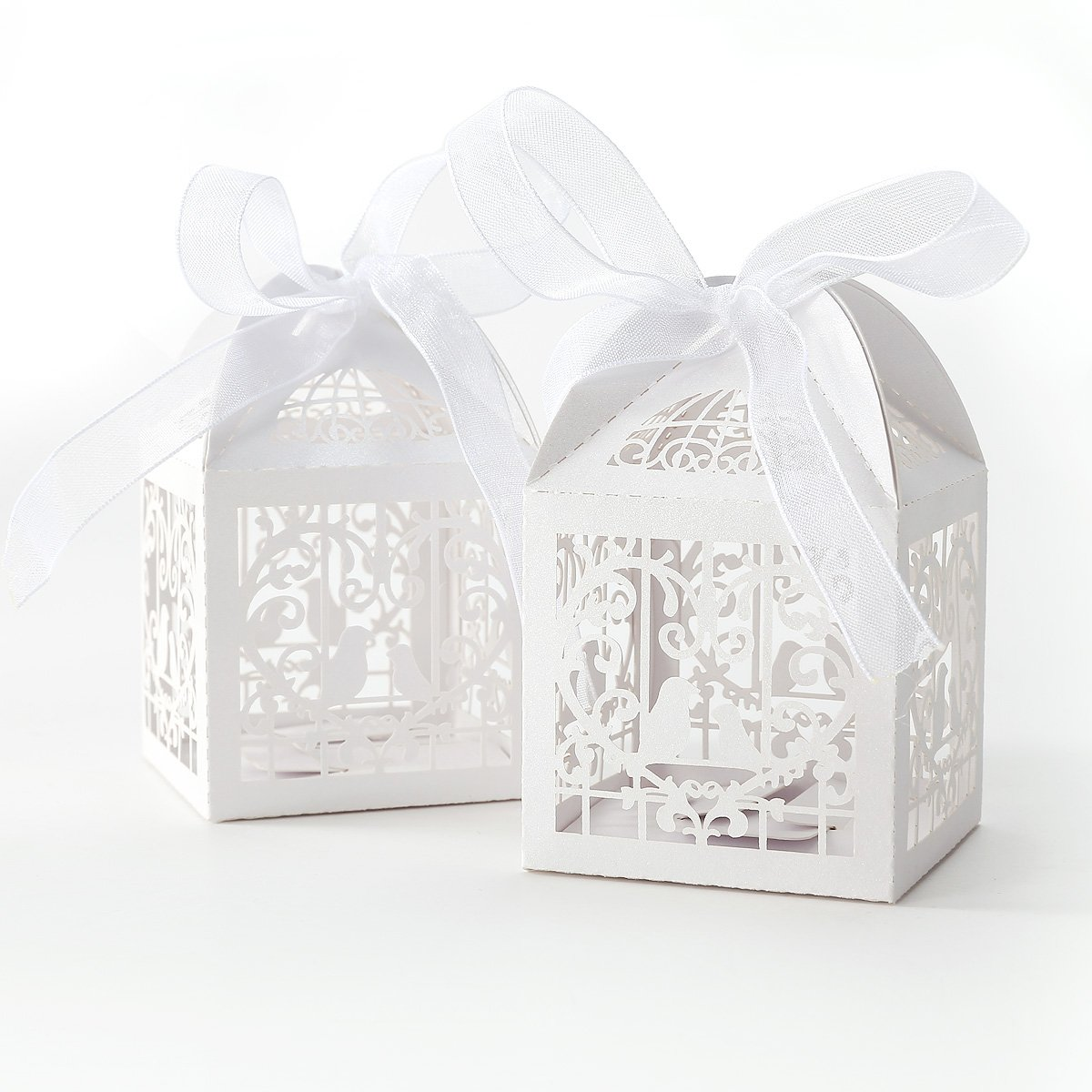 50x Dragees Box Candy Heart White box Bird Cage for Wedding Baptism