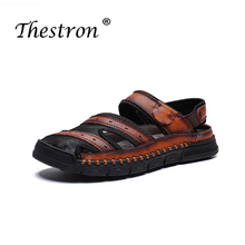 Fashion Men Slippers Thestron Male Casual Shoes Summer Flip Flops Outside Slides Light Weight Leather