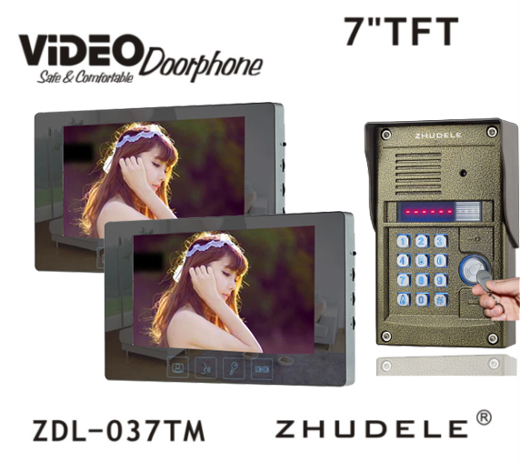 ZHUDELE Wired Touch 7 inch Color Home Video Door Phone Intercom System2 Monitor + 1 RFID Code Camera,700TVL HD Night Vision