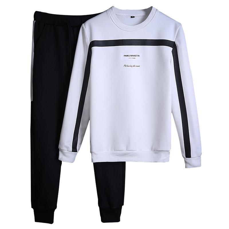 Men Sportswear Sets O-neck Tracksuit Sweatshirt With Joggers Pants Letter Casual 2 Pieces Sets Men Patchwork Spring Hoodie #1