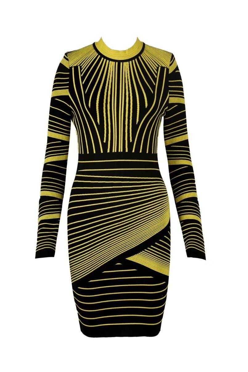 Noir Parti À 2018 Femmes Jaune D'été Sexy Bandage Manches Robe Bodycon O Mode Cou De Longues 5A4R3Lj