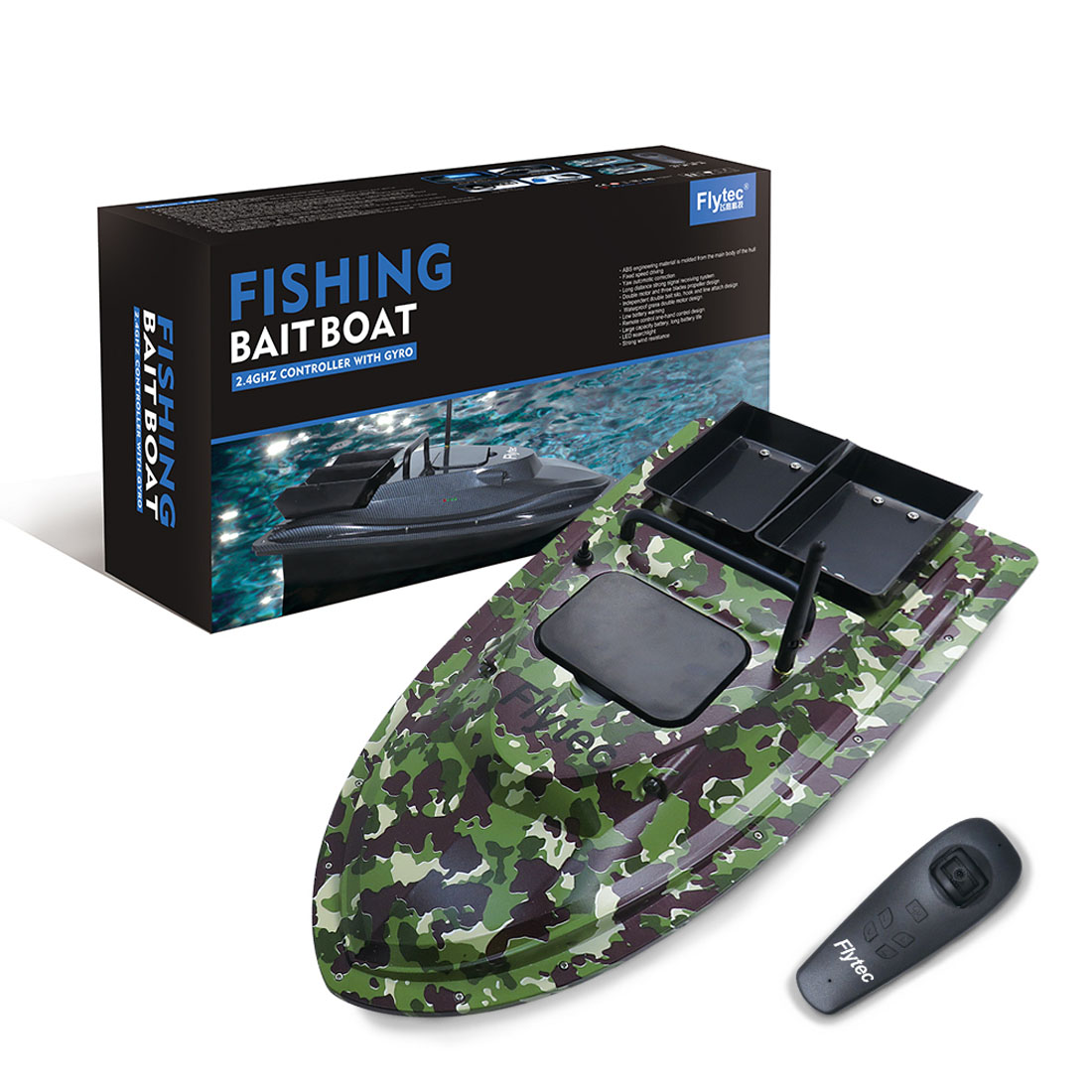 Flytec V007 Huge RC Fishing Bait Boat 500M Fishing Bait RC Boat Remote Control Ship with Light US Plug Camouflage Green