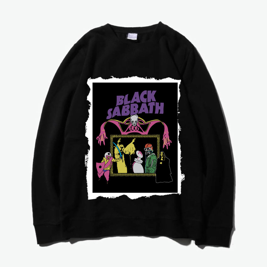 black sabbath heaven and hell heavy metal patchwork design o neck sweatshirt