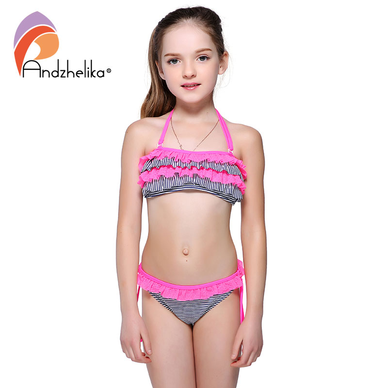 Andzhelika Bikini Girls Swimsuit Children Summer Beach Swimwear Striped Lace Bodysuit Kids Swimming Suit Bathing Suit AK1651