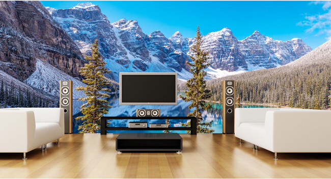The latest 3D large murals,  snow capped mountains forest landscape , living room, sofa TV background bedroom wall paper. the latest 3d murals dream of the sun exposure forest trees stone waterfall scenery living room tv sofa bedroom wall paper