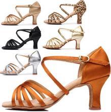 Женщина Латинской женские туфли для танцев для девочек тапки Танцы обувь для Для женщин Джаз Бальный Танец Сальса обувь 6 цветов около 5 см/7 см A01D