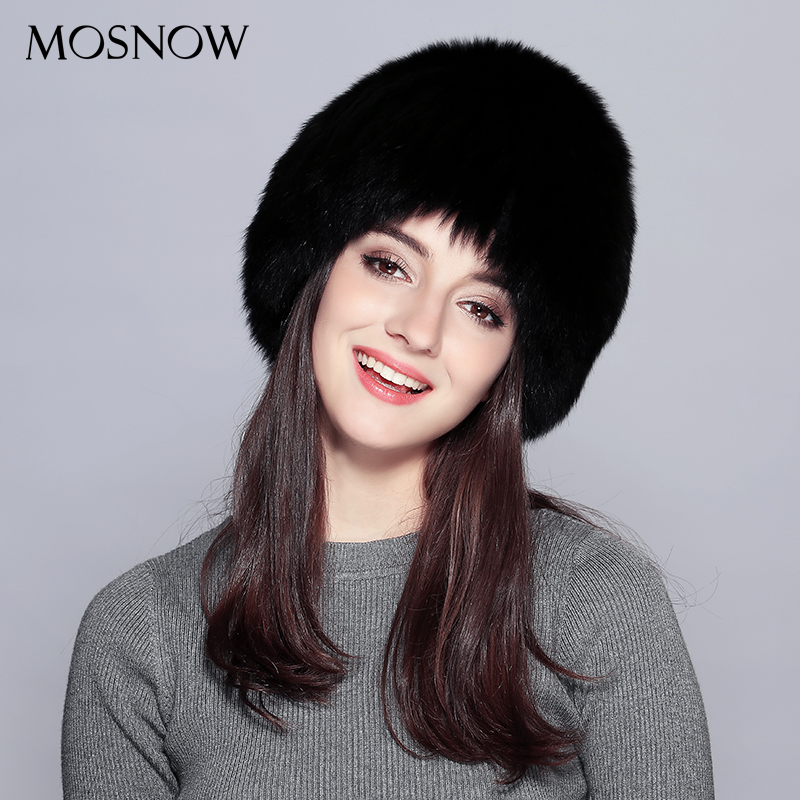 MOSNOW Real Fox Fur  Winter Hats For Women Solid White Black Wool Knitted 2017 New Fashion  Hat Female Skullies Beanies #PCM726 fur talk fashion winter russian animal fur hat white real fox raccoon fur hats for women