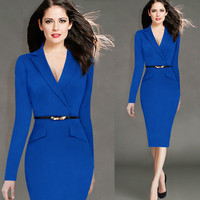 New Blue Evening Party Dresses With Belts Women Bodycon Elegant Luxury Dresses Mid Calf Sexy Long