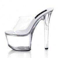 Новые пикантные туфли для танцев на высоком каблуке, прозрачные туфли без шнуровки для танцев на высоком каблуке 17 см, туфли для вечеринки с ...