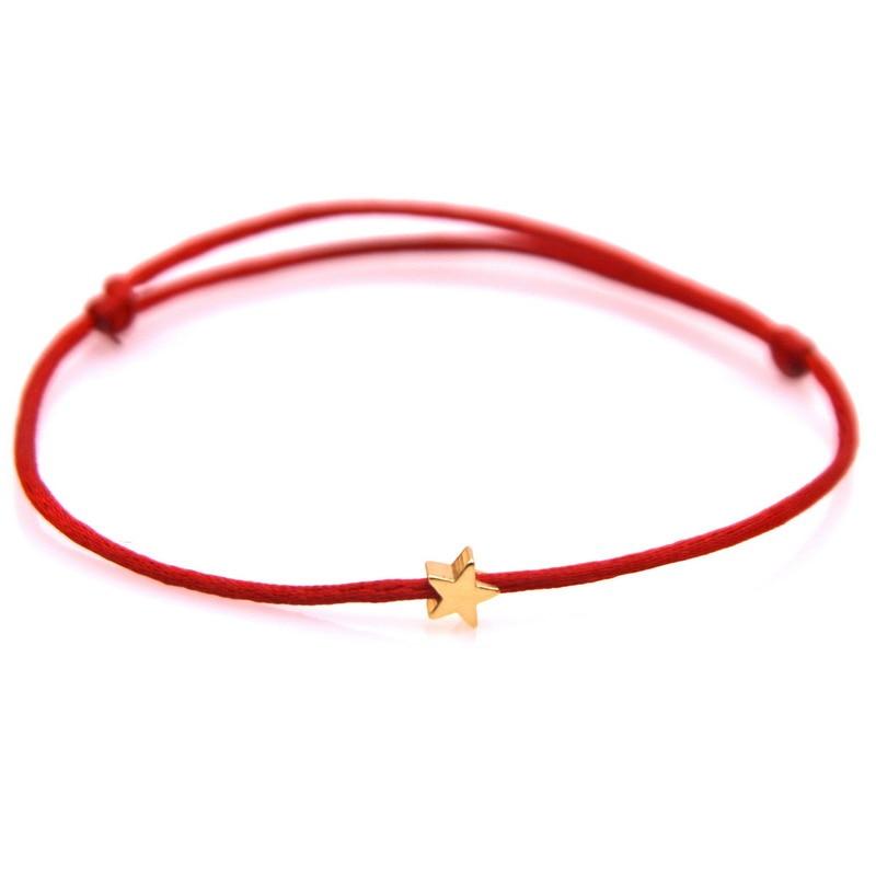 Счастливый посеребренный браслет с золотой звездой, красная веревка для женщин мужчин детей регулируемый плетеный веревочный браслет мама...