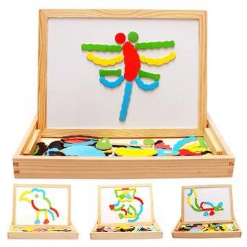 Multifunctional Wooden Chalkboard Magnetic Puzzle Whiteboard Blackboard Drawing Easel Board Arts Toys for Children Kids