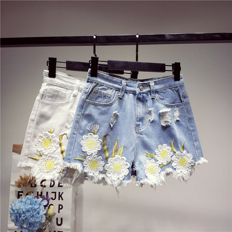 Bottoms Jeans B2458 New Style Spring And Summer 2019 Students Lace Embroidered Women Loose Wide Leg Hot Denim Shorts Cheap Wholesale