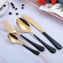 Black Gold Steel Cutlery Set Western Dinnerware Set Portable Stainless Steel Kitchen Forks Spoons Knives Tableware Drop Ship(China)