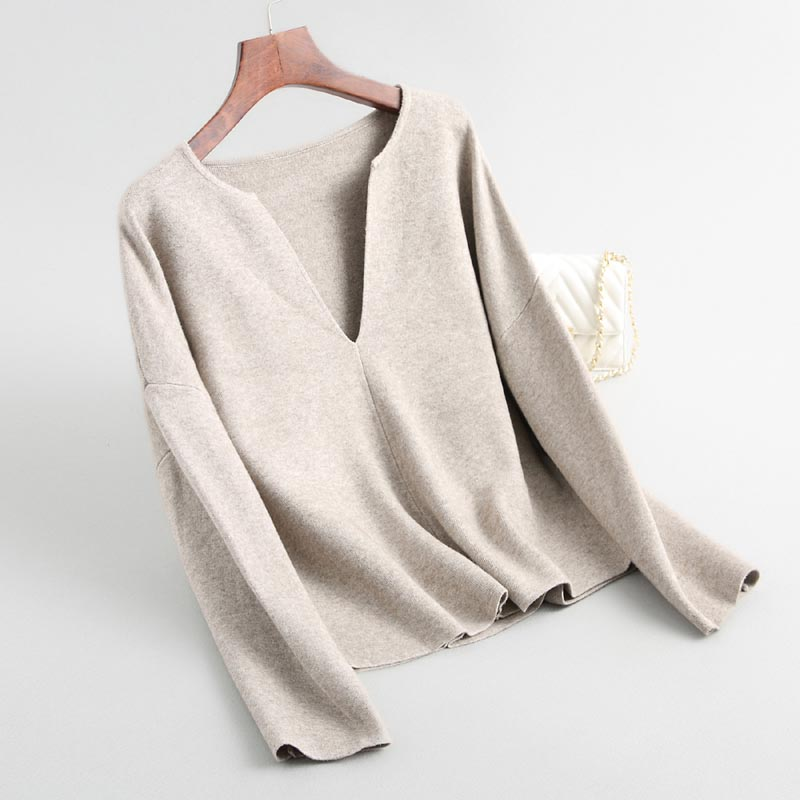 J202 Japan Fashion Women Elegant V Neck Plain Color Wool Blends Sweater Pullovers Spring Knitted Tops Soft Sweaters Jumpers Pullovers    - AliExpress