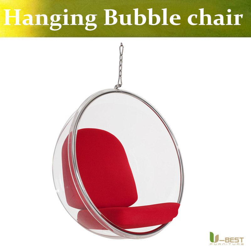 U-BEST Modern swing clear hanging bubble chair,Eero Aarnio transparent arylic ball chair u best replica eero aarnio half dome chair with fibreglass and high quality pu leather