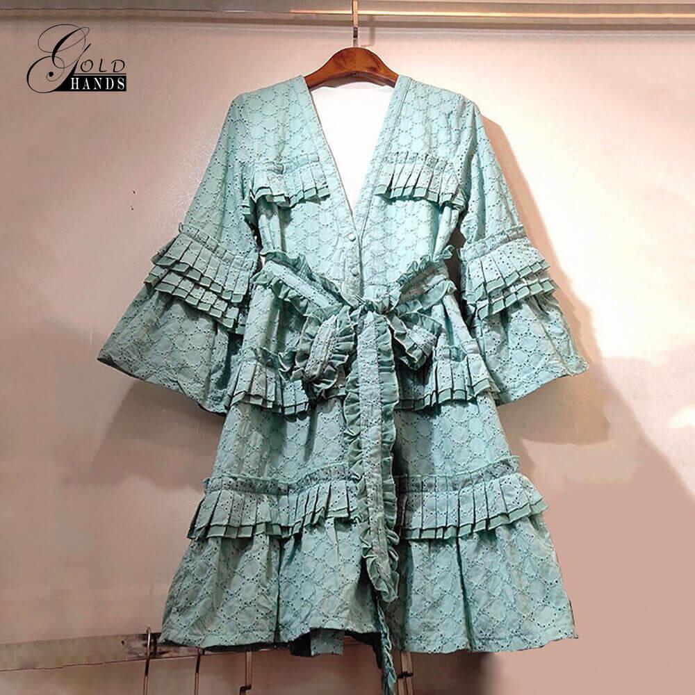 Or mains coton évider femmes robe verte été v-cou volants demi Flare manches a-ligne robes avec ceinture arc Streetwear