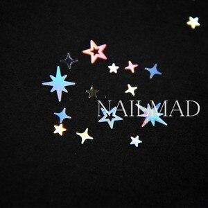 Image 4 - 1 תיבת מתומן הולוגרפית הולו כוכבים ציפורניים פאייטים כוכב צלב כוכב גליטר תערובות נצנצים נייל ארט קישוטי